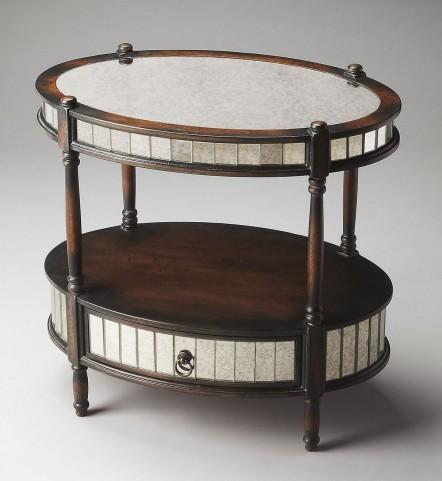 Barrington Artists' Originals Mirrored Pecan Oval Accent Table