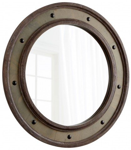 Button Antique Brown Mirror