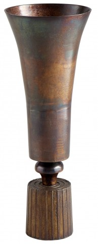 Large Vintage Brass Patina Power Vase