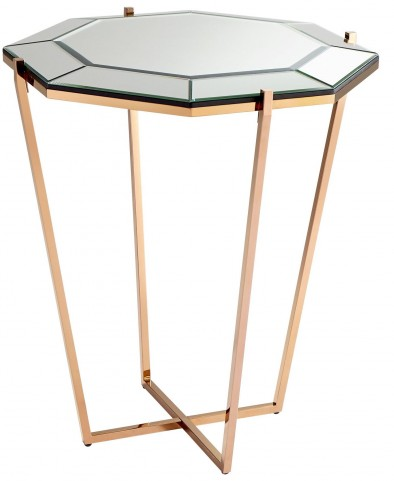 Elara Rose Gold Foyer Table