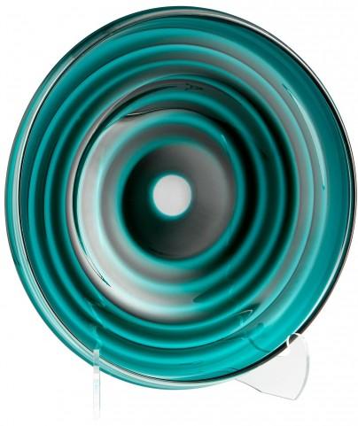 Large Teal Vertigo Plate