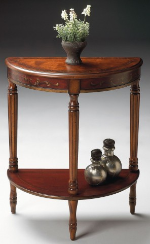 Bellini Cherry & Red Hand Painted Demilune Console End Table