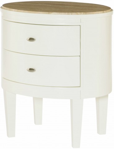 Hidden Treasures White Oval Accent Table