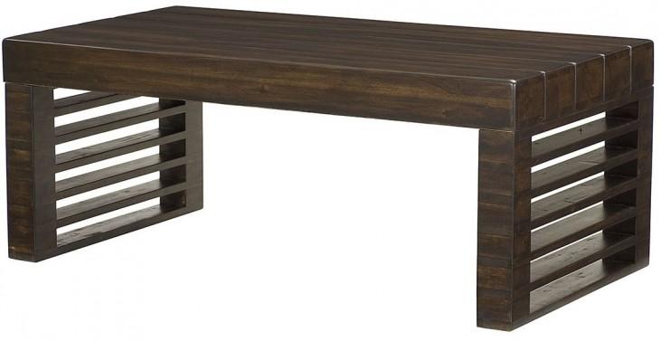Hidden Treasures Stacked Wood Rectangular Cocktail Table