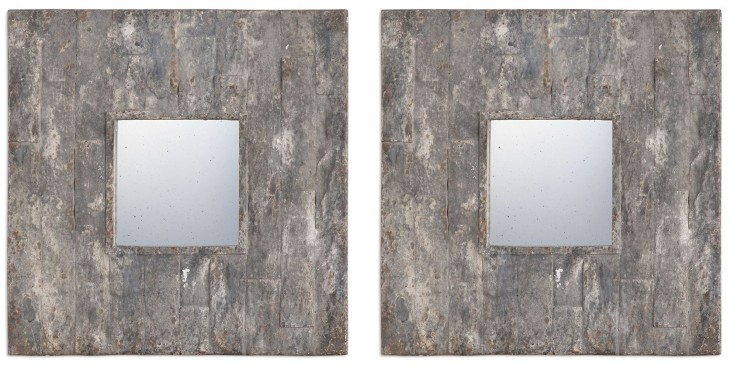 Piera Square Aged Stone Mirrors Set of 2