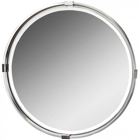 Tazlina Brushed Nickel Round Mirror