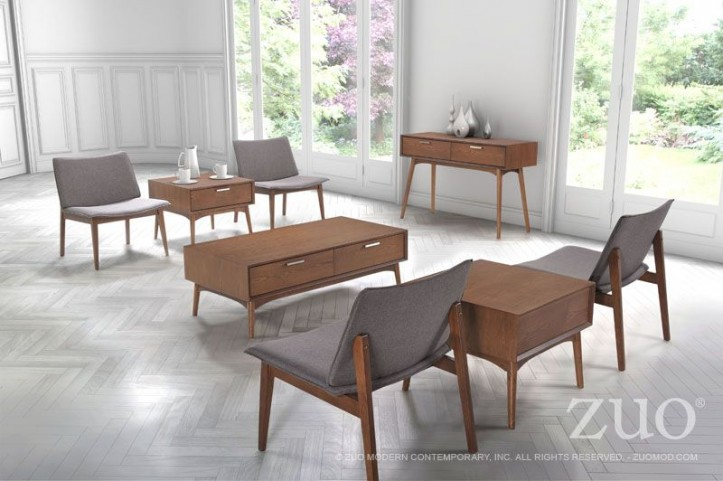 Design District Walnut Occasional Table Set