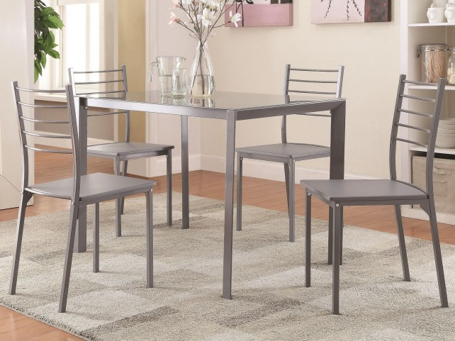 100027 5 Piece Glass Bar Height Dining Set