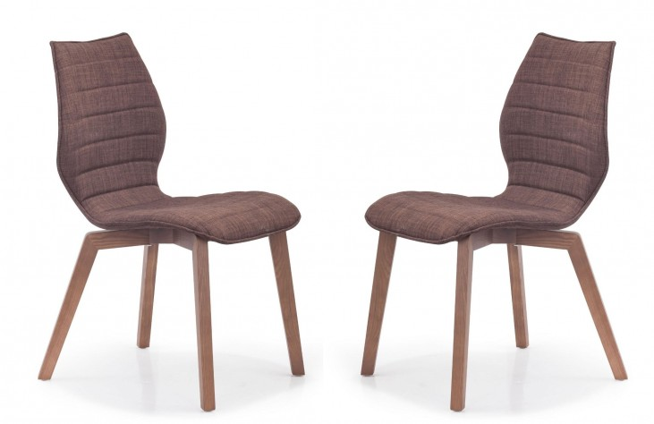 Aalborg Tobacco Fabric Chair Set of 2