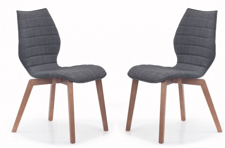 Aalborg Graphite Fabric Chair Set of 2