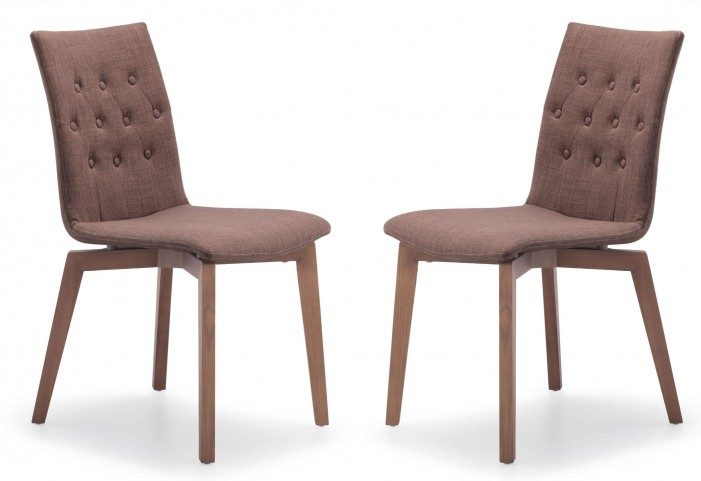 Orebro Tobacco Fabric Chair Set of 2
