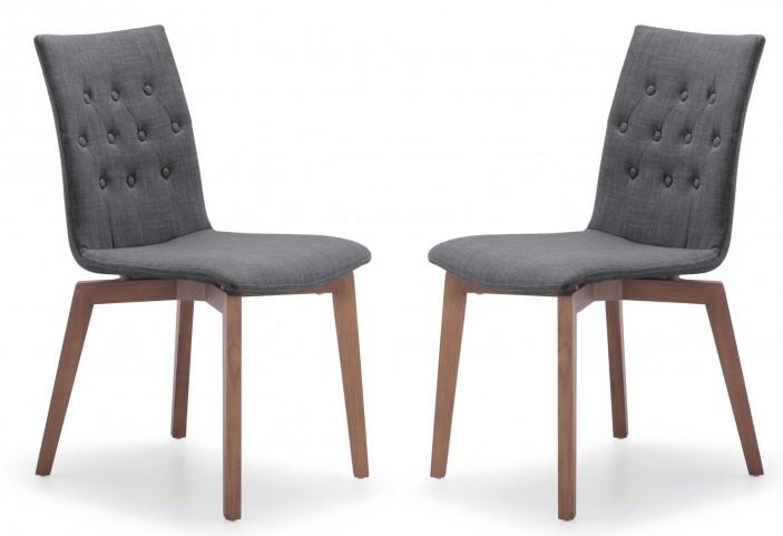 Orebro Graphite Fabric Chair Set of 2