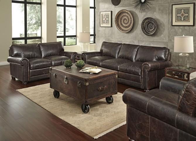 Genesis Brompton Chocolate Leather Living Room Set