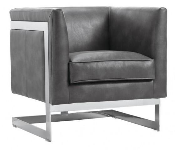 Soho Grey Leather Armchair