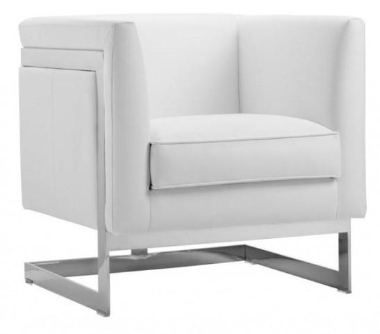 Soho White Leather Armchair