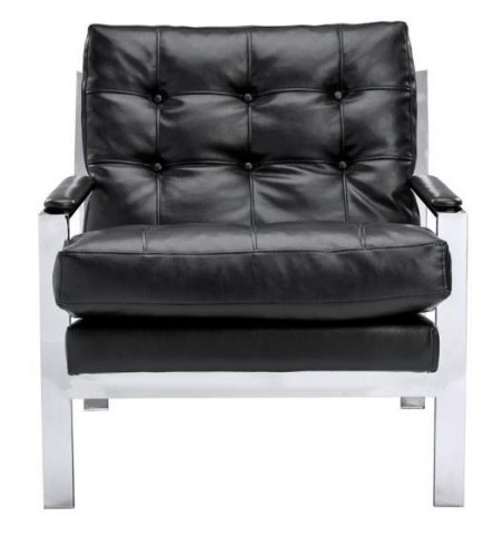 Court Black Leather Armchair
