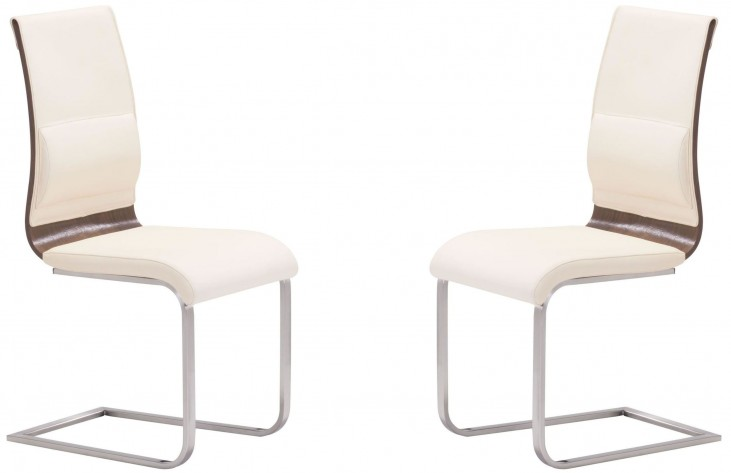 Roxboro Cream & Walnut Dining Chair Set of 2