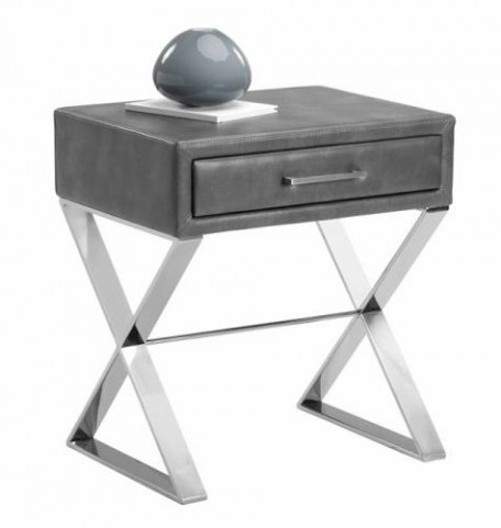 Casa Grey Leather End Table