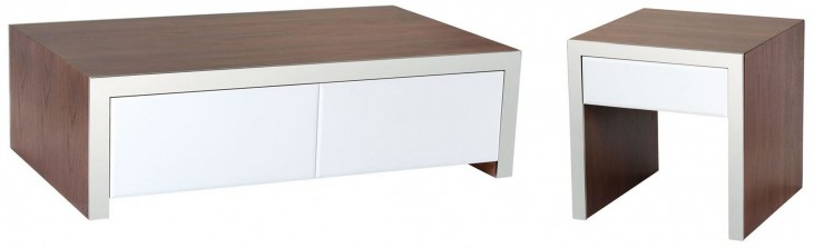 Lauderdale High Gloss White Occasional Table Set