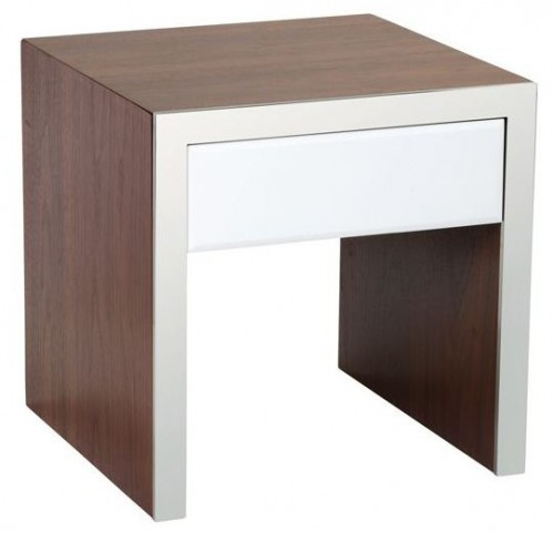 Lauderdale High Gloss White End Table