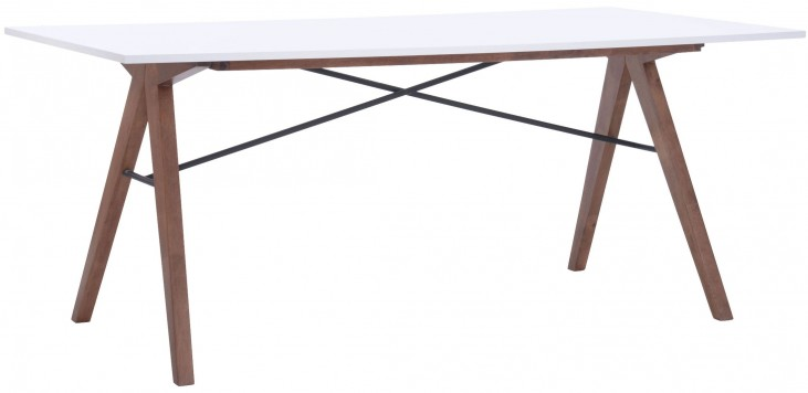 Saints Walnut & White Rectangular Dining Table