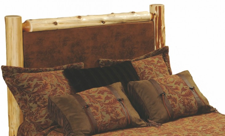 Cedar King Leather Upholstered Log Headboard