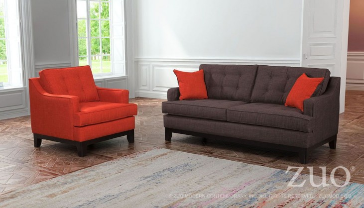 Chicago Burnt Orange & Charcoal Living Room Set