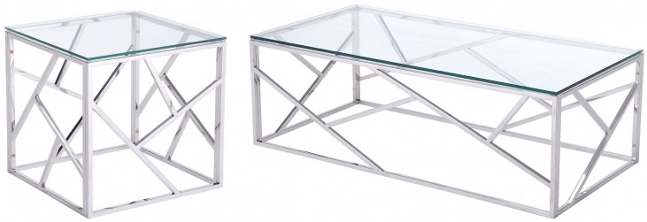 Cage Polished Stainless Steel Occasional Table Set