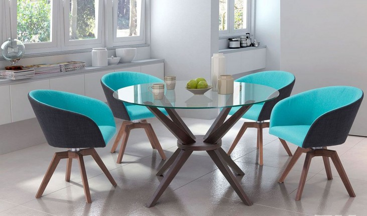 Cell Dark Walnut Round Dining Room Set
