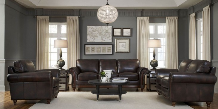 Century Toberlone Leather Living Room Set