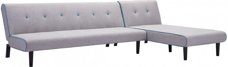 Greco Light Gray With Aqua Trim Sleeper Sectional
