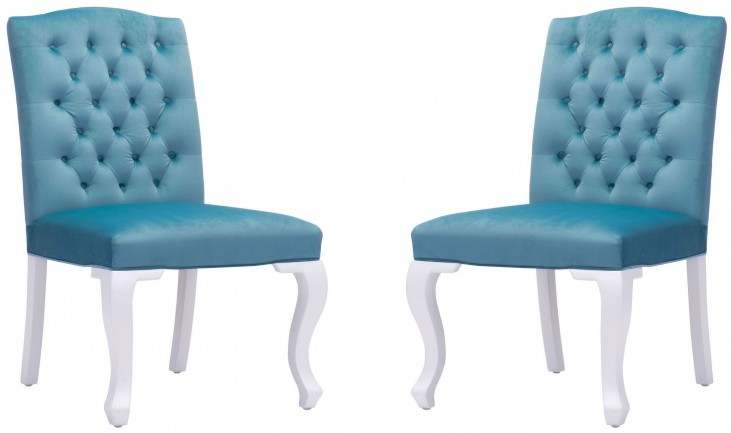 Bourbon Polar Blue Velvet Dining Chair Set of 2