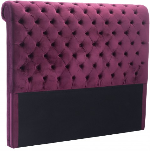 Sergio Wine Velvet Queen Headboard