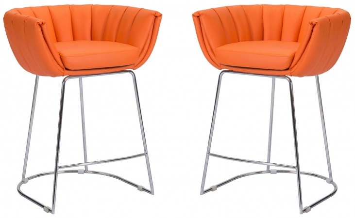Latte Orange Counter Chair Set of 2