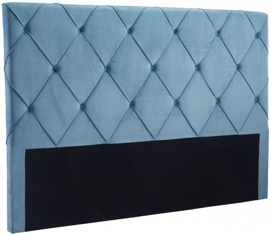 Matias Polar Blue Velvet King Headboard