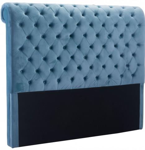 Sergio Polar Blue Velvet Queen Headboard