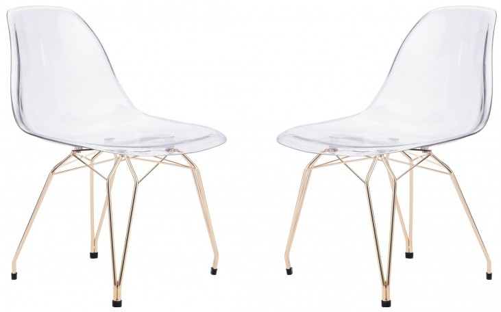 Shadow Transparent & Gold Dining Chair Set of 2