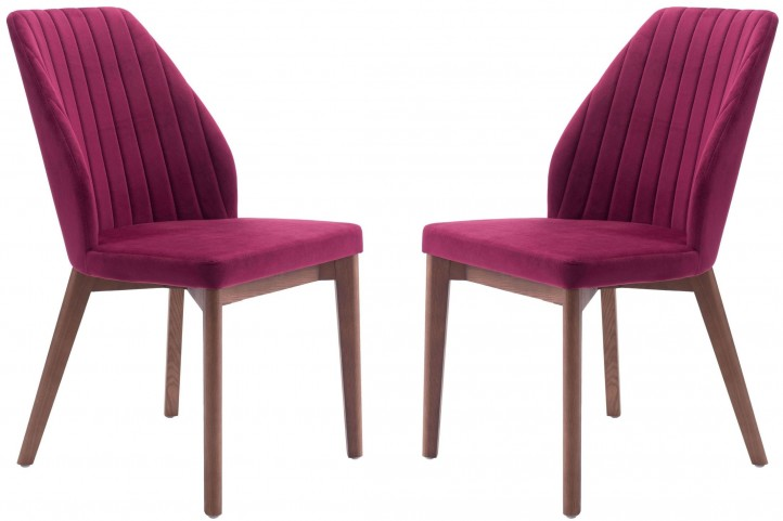 Vaz Red Velvet Dining Chair Set of 2