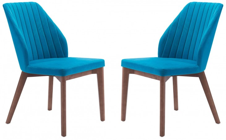 Vaz Blue Velvet Dining Chair Set of 2