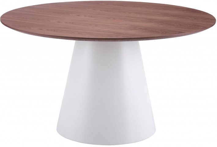 Query White & Walnut Round Dining Table