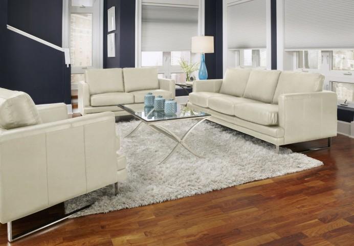 Melbourne White Leather Living Room Set