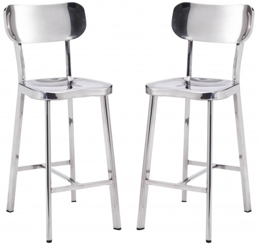 Winter Polished Stainless Steel Counter Chair Set of 2
