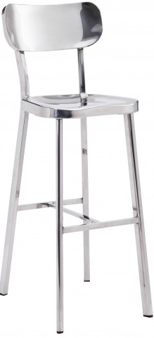 Winter Polished Stainless Steel Bar Chair