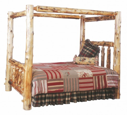 Traditional Cedar Cal. King Canopy Log Bed