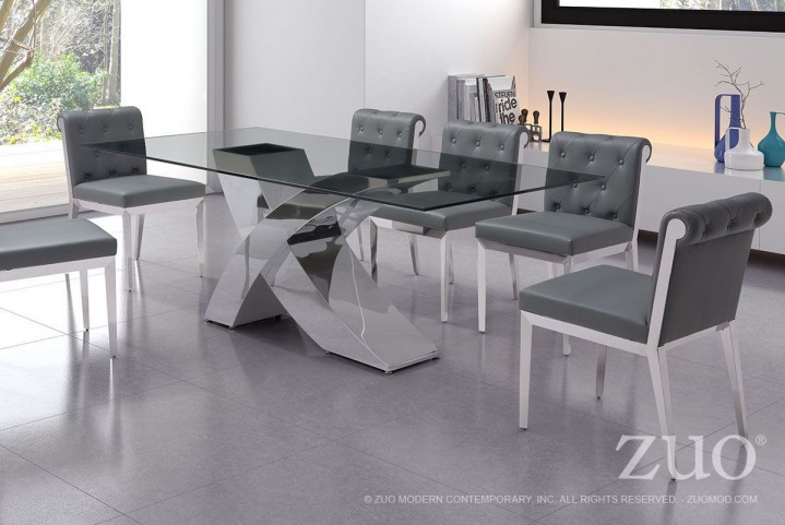 Wave Chrome Rectangular Dining Room Set