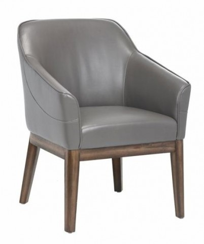 Dorian Dove Gray Leather Armchair