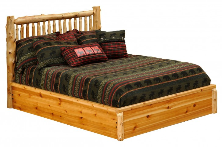 Cedar Full Small Spindle Platform Bed