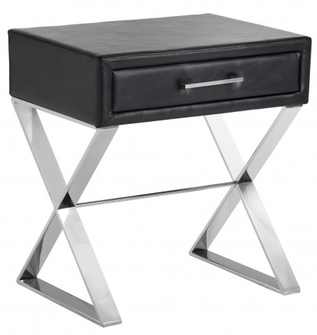 Casa Black Leather X-Base End Table