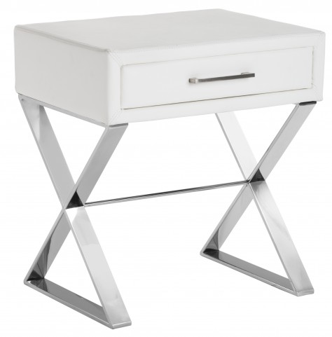Casa White Leather End Table