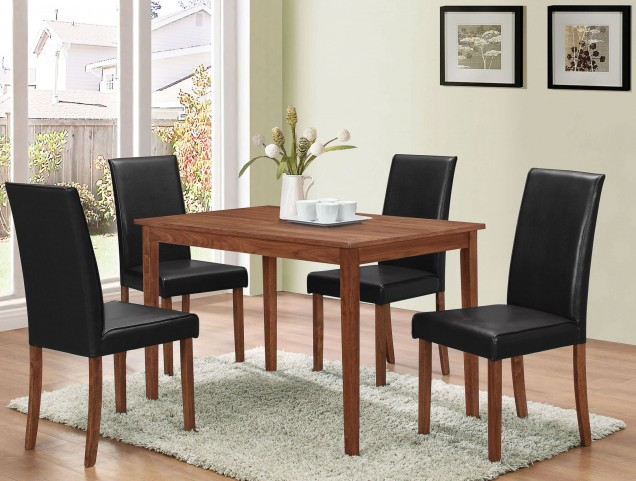 Walnut and Dark Brown 5 Piece Dining Set